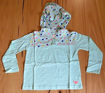 Roxy Girls Hoodie T Shirt -  GREEN  - SIZES - 2,4 & 6 - NEW