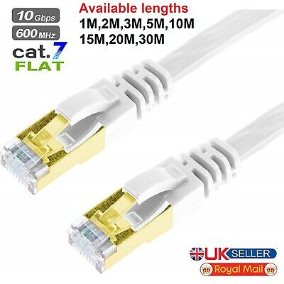 RJ45 Cat7 Ethernet Network Flat Patch Cable Gigabit Internet 1M 2M 3M 5M 10M Lot