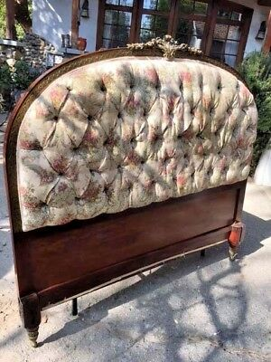 Antique Deco Mahogany Upholstered Headboard With Brass Inlay