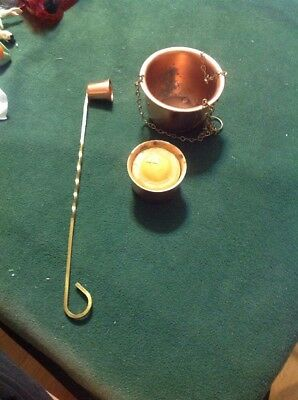 Vintage Small Hanging Copper Pot Plant Holder Planter And Candleholder