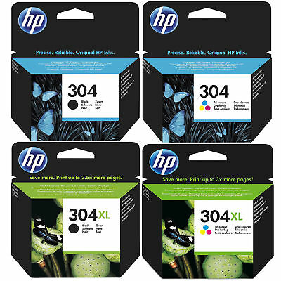 Original HP 304 / 304XL Black & Colour Ink Cartridges For DeskJet 2620 Printer