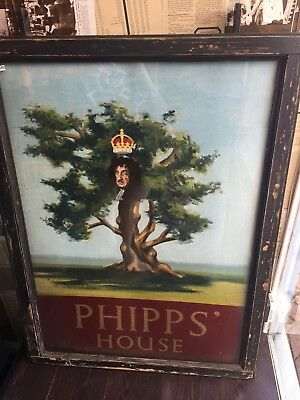 Large Vintage Double Sided Pub Sign 'PHIPPS HOUSE',