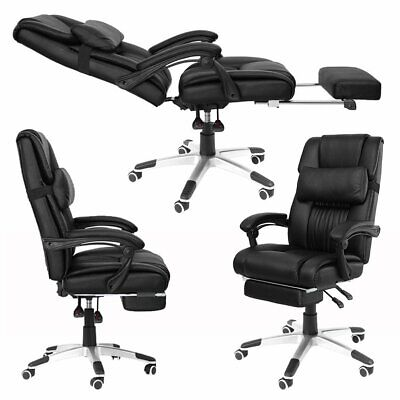 Executive PU Office Chair Racing Computer Gaming Footrest Swivel Recliner Black