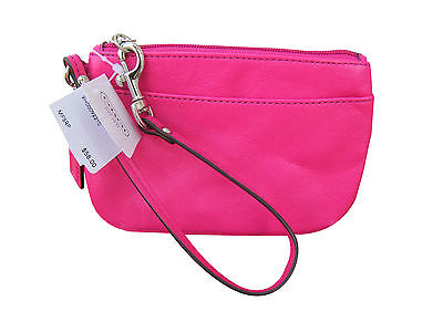 Authentic Coach F45651 Pink Fuchsia Small  Leather Wristlet Phone Case  NWT