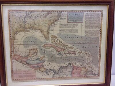 Framed Map Island West Indies Reproduction 48x39cm Vintage ?