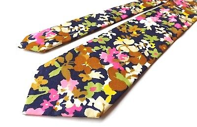 VINTAGE BOYS YOUTH 1960s 70s Neck Tie Blue Pink Floral Age 9-14 Approx FREE P&P