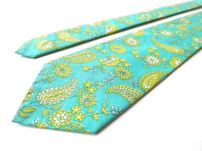 VINTAGE BOYS YOUTH 1960s 1970s Neck Tie Green Yellow Age 9 - 14 Approx FREE P&P