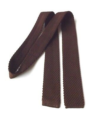 Vintage BOYS YOUTH 1950s 1960s Skinny Knitted Neck Tie Brown MOD SKA FREE P&P