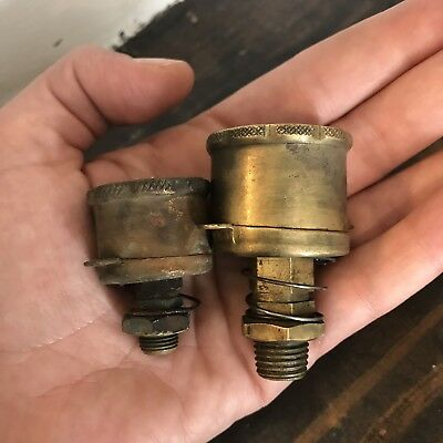 Pair Of 2 Antique Vtg Brass Spring Assisted Grease Cups Steampunk Industrial