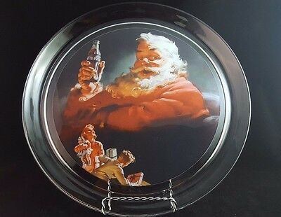 "1994 Coca-Cola Santa Platter 13"" #5539 Indiana Glass"