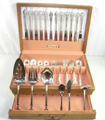 Vintage 68 Piece 1847 Rogers Brothers Reflection Flatware Set w/ Box 12 service