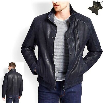 M&S Gents REAL LEATHER Padded BIKER JACKET ~ Size SMALL / Std. ~ NAVY (rrp £179)