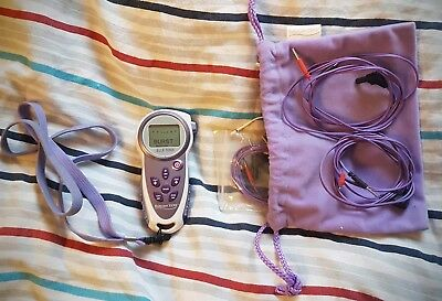 Elle Tens machine pregnancy birth pain relief device with cables pads and bag