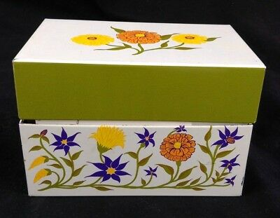 Vintage Recipe box metal Syndicate mfg. floral green with clipped written recipe