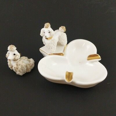 Vintage Spaghetti Poodle Ashtray White Mid Century Porcelain Gold Tone Dog