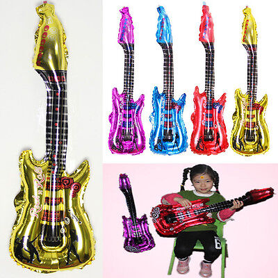 4Color Inflatable Neon Air Guitar Blow Up Rock Roll Party Music Instrument Toy