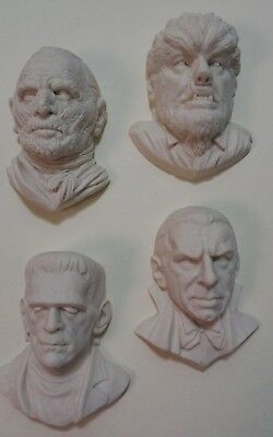 Set of 4 Classic Monsters Resin Casts - Mummy Wolfman Dracula Frankenstein