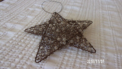 "Vintage Antique Primitive 5"" Star Christmas Ornament - Mesh Wire -  AAFA"