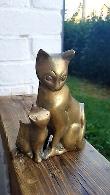 Vintage Bronze/Brass Cat with Her Kitty Figurine/ Desk Ornament/ Paperweight