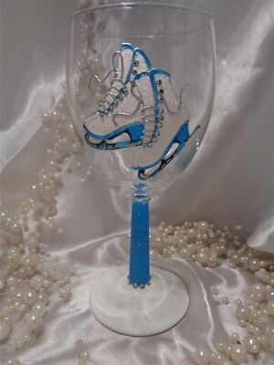 Ice Skating Hand Painted Skates Wine Glass  - Blue - Great Gift