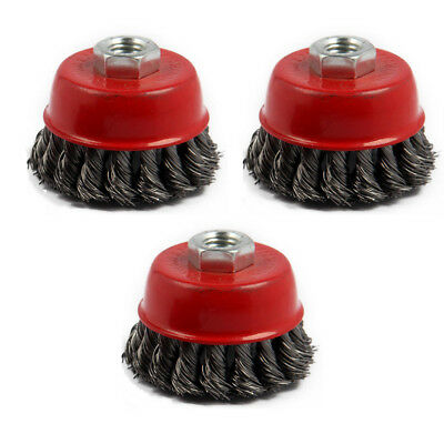 """3 x Twist Knot Wire Wheel Cup Brush Set 3"""" M14 for 4"""" 100mm Angle Grinder New UK"""