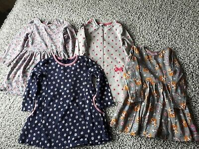 Bundle Of Girls Long Sleeved Dresses x 4 Age 2-3 Years