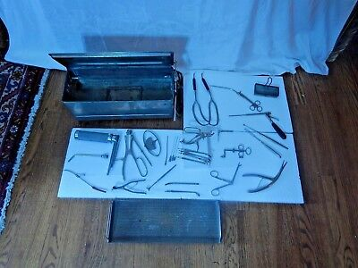 Vintage Metal Electric Sterilizer and Surgical Instruments (USA and Germany)