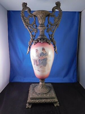 """Possibly Sevres Hand-Painted Porcelain and Brass Urn With Griffins 18"""" Tall"""