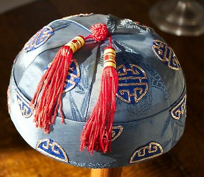 Vintage Traditional Chinese Gentleman's Silk Hat Oriental Blue with Red Tassels