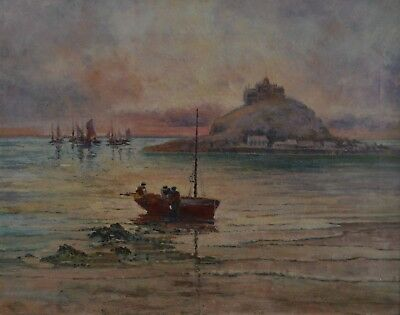 LATE VICTORIAN ATMOSPHERIC ST MICHAEL'S MOUNT ANTIQUE OIL PAINTING - signed
