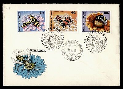 DR WHO 1980 HUNGARY FDC FLOWER/INSECT IMPERF COMBO  d63260