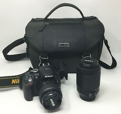 Nikon D5300 24.2MP DSLR Camera Bundle with 18-55mm & 55-200mm Lenses *LOW CLICKS