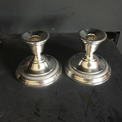 Vintage Pair of WATROUS STERLING SILVER Candle Holders Weighted Reinforced