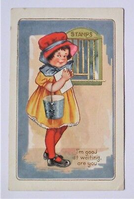 Antique Early 1900's Whitney Made Embossed Valentine Postcard  With Little Girl
