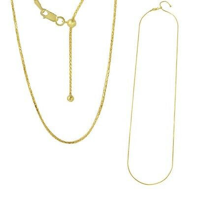 Sterling Silver Gold Plated Adjustable 1mm Franco Slider Chain Necklace w/ Bead