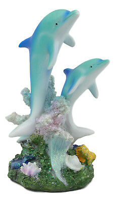 "Sea World Bottlenose Dolphins Swimming By Coral Reefs Statue 5.5""H Dolphin"
