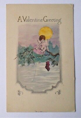 Antique Early 1900's Gibson Valentine Poscard Cupid On Branch Fishing For Hearts