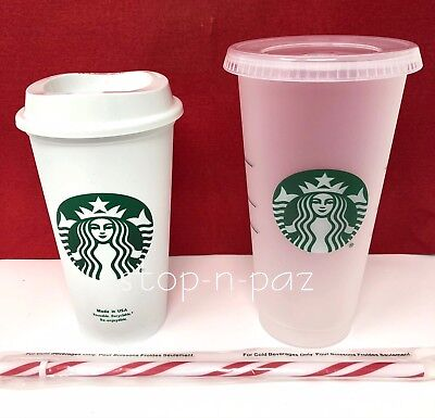 Starbucks Reusable 16 oz and Venti 24 oz Frosted Cold Cup Candy Cane Straw - NEW