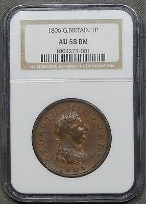 1806 Great Britain Penny KM# 663 - NGC AU58 BN