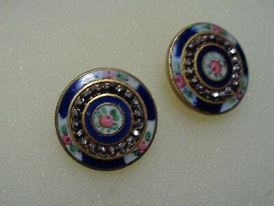 """Two Antique VICTORIAN BRASS and ENAMEL ROSES  COLORFUL  3/4"""" buttons"""