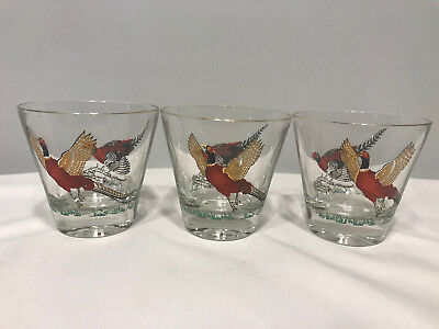 3 Pheasant Birds Drinking Glasses Cocktail Whiskey Gold Rim 7ozs R21C