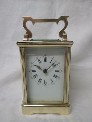 Antique French/English Corniche Cased Brass Carriage Clock + Key (Working)