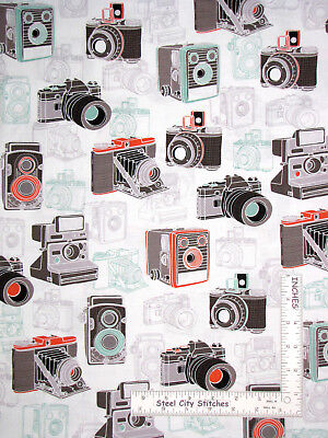 Say Cheese Vintage Camera Picture Photo Cotton Fabric Ink Arrow By The Yard