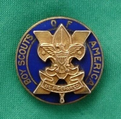 Vintage BSA Boy Scout 10 Year Veteran Pin Pin Back Gold Plated
