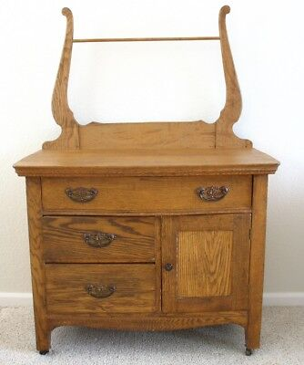 Antique Oak or Ash Wash Stand/Commode With Drawers, Cabinet & Towel Rack