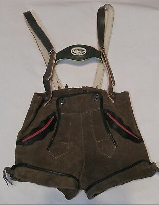 German Lederhosen Green Suede Leather Shorts With Suspenders Child's