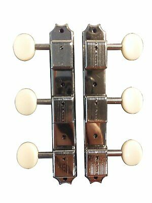 "Kluson Single-Line ""3-On-A-Plate"" Guitar Tuning Pegs W/Cream Buttons Gibson Epi"