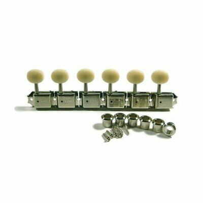 Kluson 6 In-Line Vintage Guitar Tuning Pegs Machines Nickel Strat Cream Button