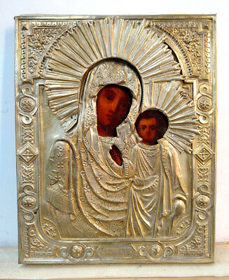 c.1900 ANTIQUE RUSSIAN ORTHODOX RELIGIOUS ICON OUR LADY OF KAZAN IN BRASS OKLAD