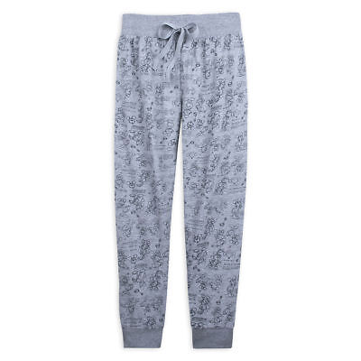 Small Disney Women's Mickey and Minnie Mouse Lounge Gray Pants  Loose Fit